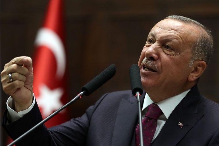 President Erdogan op de bijeenkomst woensdag waarin hij uithaalde naar de Amerikaanse parlementsleden.   Beeld AFP