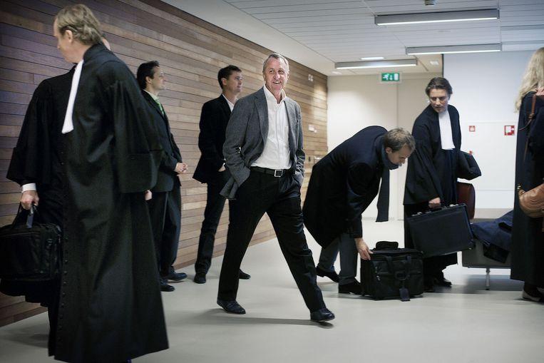 December 2011. Johan Cruijff in de rechtbank van Haarlem bij een kort geding tegen de aanstelling van Louis van Gaal. Beeld Guus Dubbelman / de Volkskrant