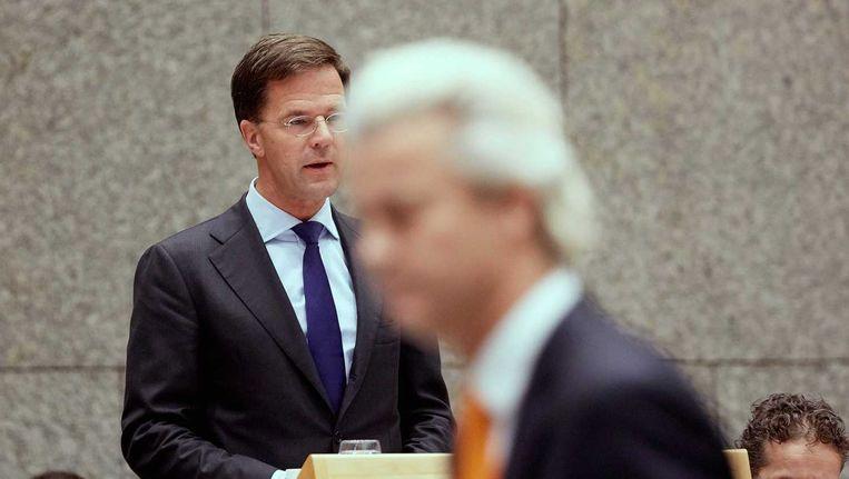 Geert Wilders in debat met premier Mark Rutte tijdens de Algemene Politieke Beschouwingen. Beeld anp