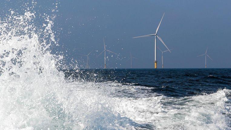 Het Luchterduinen windmolenpark van Eneco voor de Noordzeekust. Beeld reuters
