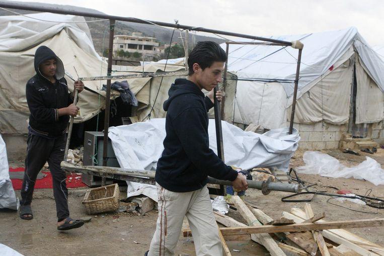 Syrische vluchtelingen in al-Rafid. Beeld reuters