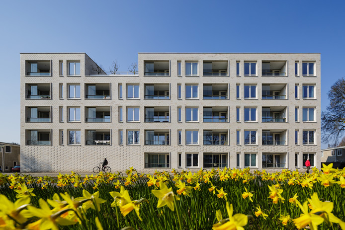 Vervangende nieuwbouw voor Airey-flats aan de Karel de Grotelaan Eindhoven voor Woonbedrijf. Architectenbureau Van Helmond Architecten / FAAM Architects. Foto Bas Gijselhart