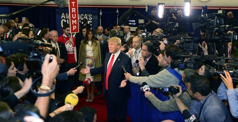 Zoals bij elk debat tot nu toe, trok Trump weer de meeste aandacht. In een opiniepeiling van deze week scoort hij zelfs 41 procent. Beeld EPA