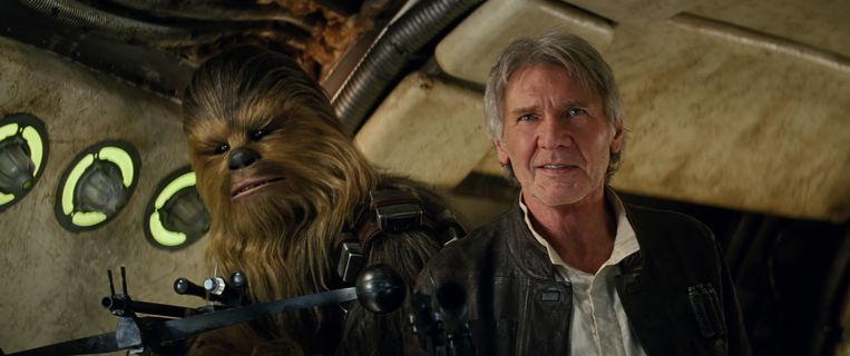 Harrison Ford als Han Solo met Chewbacca. Beeld Lucasfilm