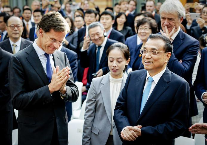 Premier Rutte met zijn Chinese ambtsgenoot Li Keqiang.