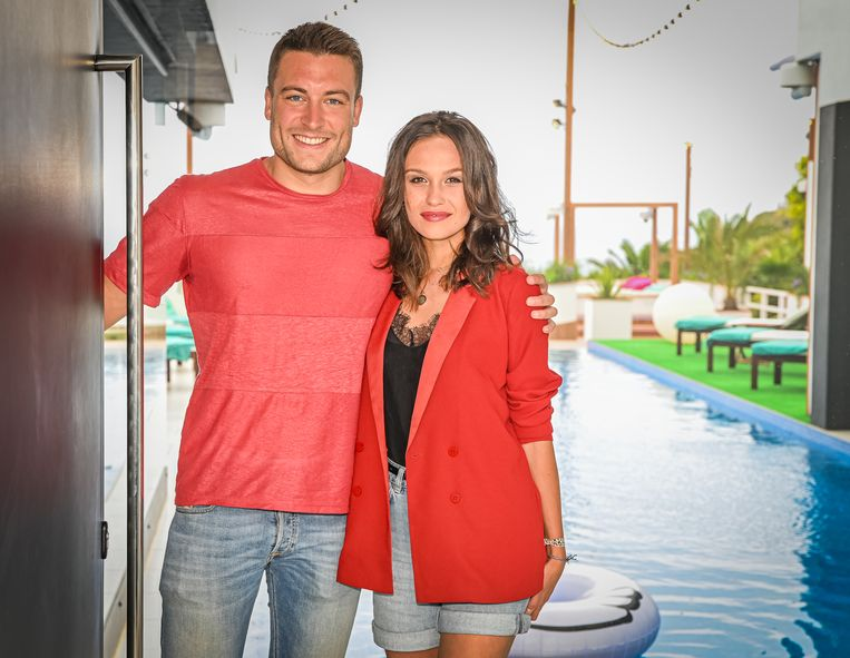 GRAN CANARIA, SPAIN - MAY 23 : Viktor Verhulst, Holly Mae Brood pictured at Love Island on May 23, 2019 in Gran Canaria, Spain, 23/05/2019 ( Photo by Joel Hoylaerts / Photonews )
