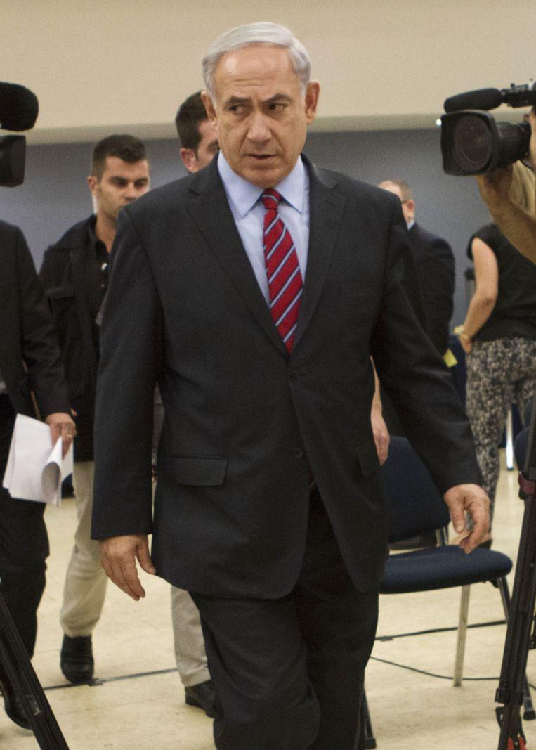 Volgens premier Benjamin Netanyahu van Israël zit de radicaalislamitische Hamas-beweging achter de ontvoering. Beeld ap