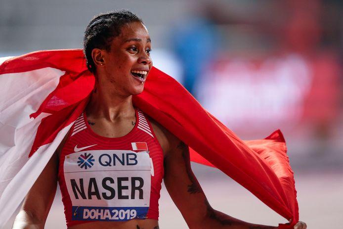 Salwa Eid Naser na het behalen van haar wereldtitel vorig jaar op de 400 meter in Doha.