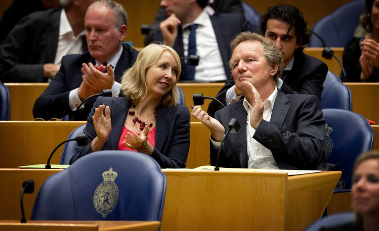 Fractievoorzitter van GroenLinks Bram van Ojik en Liesbeth van Tongeren. Beeld anp