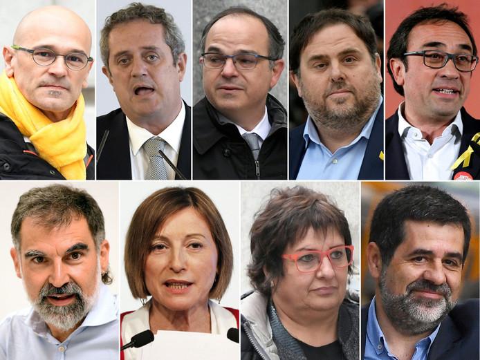 La Cour suprême espagnole a condamné lundi neuf des 12 Catalans jugés pour leur rôle dans la tentative de sécession de la Catalogne en 2017 à des peines allant de 9 à 13 ans de prison pour sédition et détournement de fonds publics. En haut, de gauche à droite: Raul Romeva, Joaquim Forn, Jordi Turull, Oriol Junqueras, Josep Rull. En bas, de gauche à droite: Jordi Cuixart, Carme Forcadell, Dolors Bassa et Jordi Sanchez.