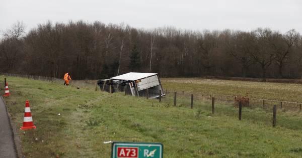 Kettingbotsing en gekantelde truck op A73; vrachtwagenchauffeur gewond.