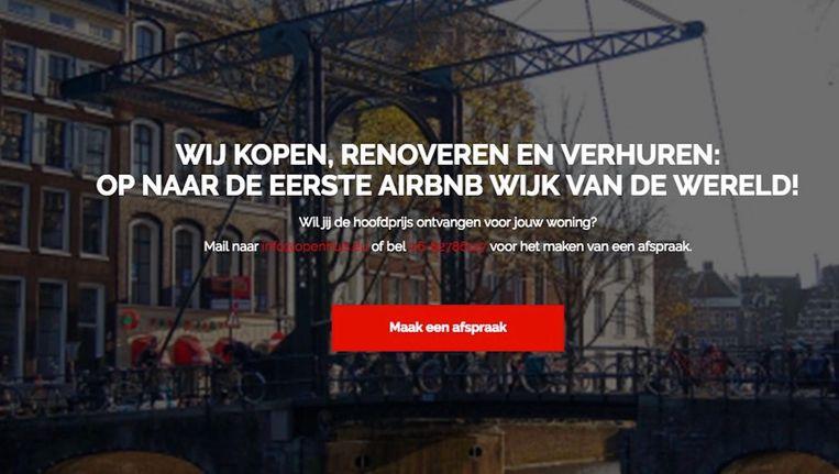 De site biedt aan huizen op te kopen om ze vervolgens via Airbnb te verhuren. Beeld Screenshot