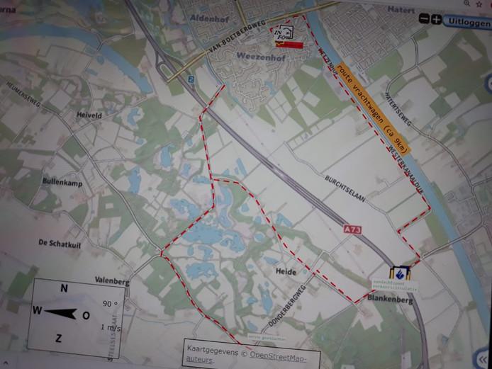 De route die het voertuig met drugsafval in Nijmegen vermoedelijk heeft gereden.
