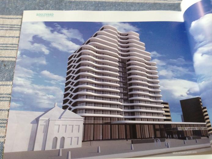 Het nieuwste ontwerp, met balkons die als golven rondom het ruim zestig meter hoge gebouw zijn aangebracht.