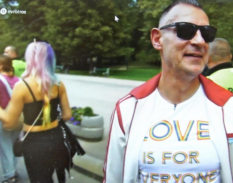 Hans Verhoeven op de Pride in Sarajevo. Beeld