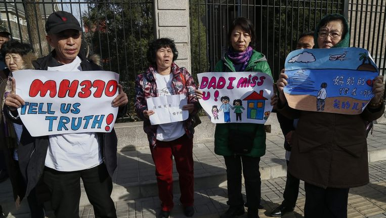 Nabestaanden protesteren in Peking.