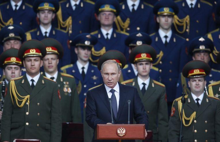 De Russische president Vladimir Poetin tijdens zijn speech tijdens de opening van de wapenbeurs in Kubinka, nabij Moskou.