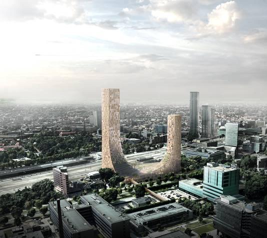 Impressie van het gebouw de Dutch Mountains dat in Eindhoven moet verrijzen. Het is een van de projecten die met rijksgeld versneld zouden moeten worden.