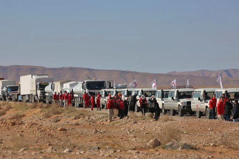 Het hulpkonvooi kwam woensdag aan in het kamp in Rukban, Syrië.