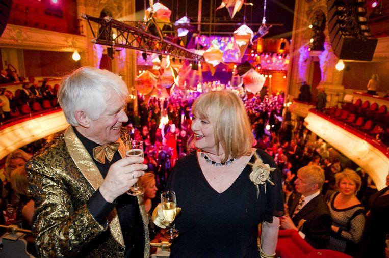 Kees van Kooten en zijn vrouw op de afgelopen editie van het Boekenbal, in maart van dit jaar. Beeld anp