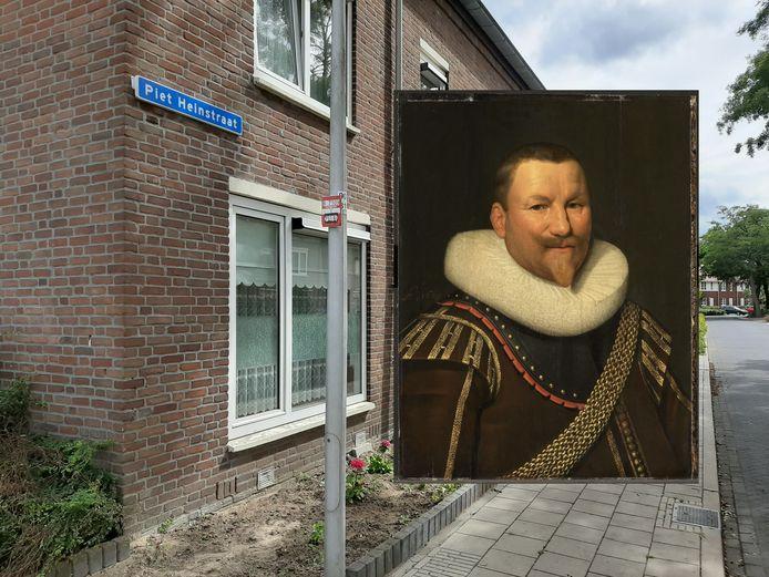 De Piet Heinstraat in Amersfoort, met rechts Piet Hein.