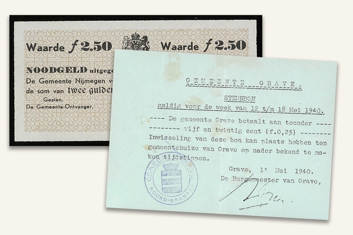 Noodgeld van de gemeente Nijmegen (links) en van Grave.