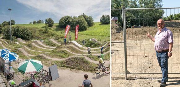 Sportschepen Peter Simoens bij het terrein dat er als mountainbikeparcours ongeveer moet uitzien zoals de foto links.