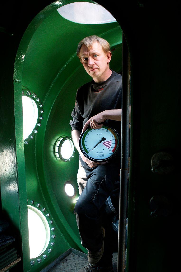 Peter Madsen in zijn duikboot, waar hij de Zweedse journaliste Kim Wall vermoordde. Beeld AP