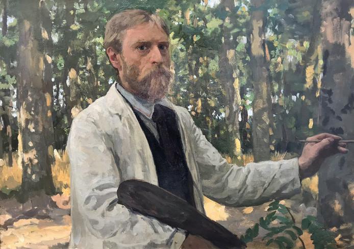 Zelfportret in bosrijk landschap van Willem Bastiaan Tholen.