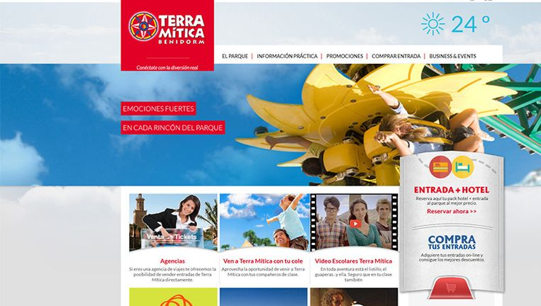De website van Terra Mitica-pretpark in Benidorm Beeld www.terramiticapark.com