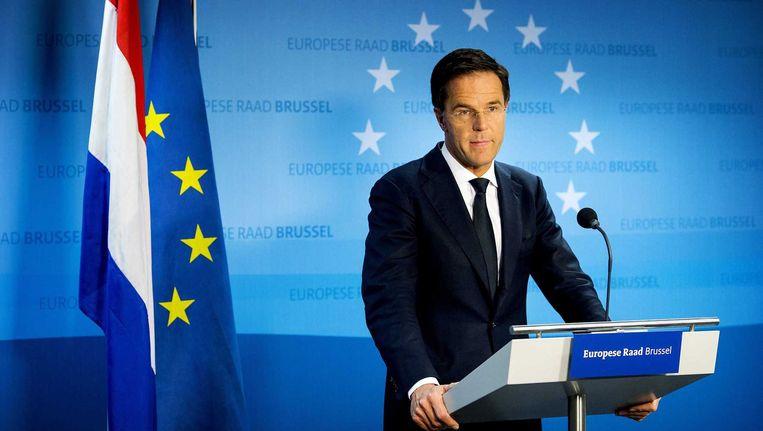 Premier Rutte bij de EU-top van vorige week in Brussel. Beeld anp