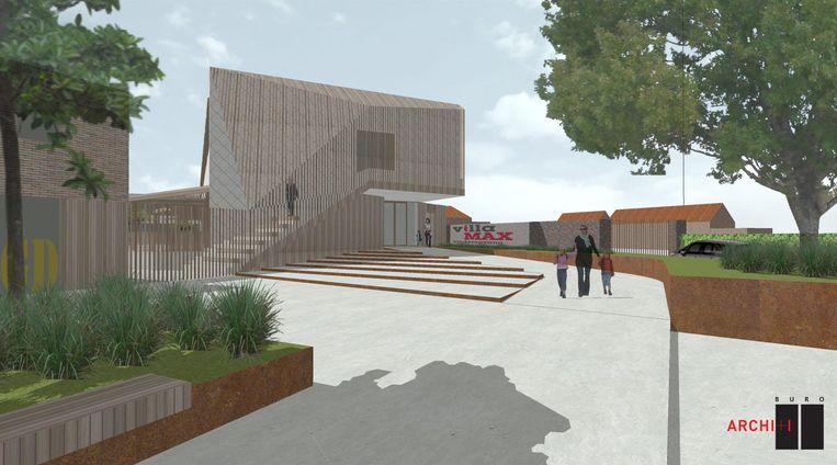 Een conceptbeeld van hoe het nieuwe gebouw van de gemeenteschool en buitenschoolse kinderopvang eruit zal zien.