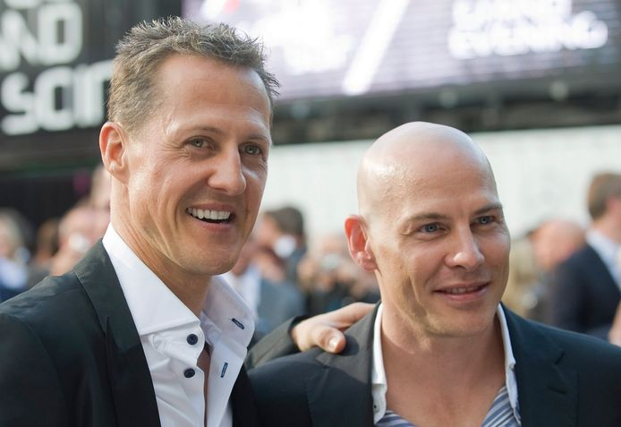 Michael Schumacher (l) en Jacques Villeneuve