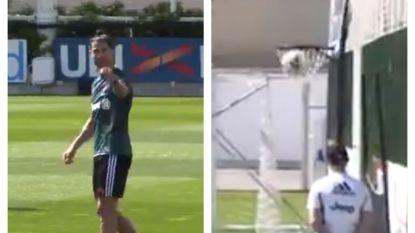 Ronaldo amuseert zich op training en lepelt bal laconiek in basketring