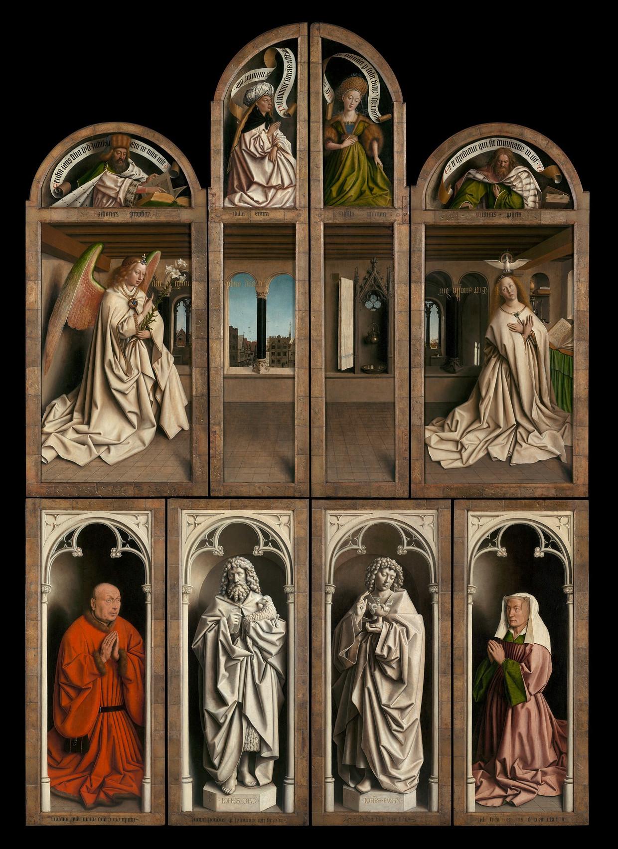 Jan (ca. 1390 - Brugge, 1441) en Hubert van Eyck (Maaseik, ca. 1366/1370- Gent, 1426), Aanbidding van het Lam Gods (1432). Buitenluiken van het gesloten altaarstuk.  Beeld Sint-Baafskathedraal, Gent / Koninklijke Musea voor Schone Kunsten van België