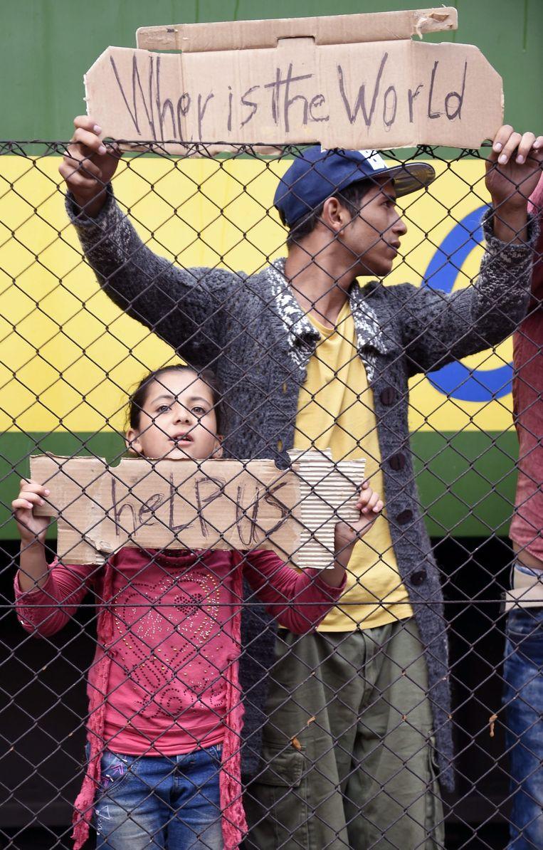 Vluchtelingen staan voor een hek bij het treinstation in Bicske. Beeld epa
