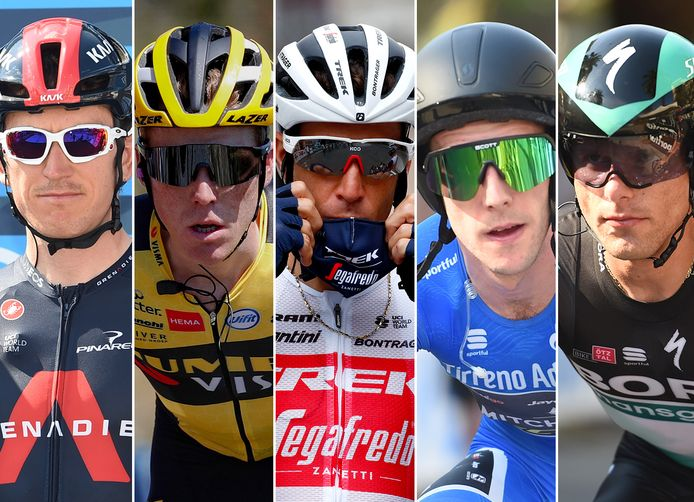 Vlnr: Geraint Thomas, Steven Kruijswijk, Vincenzo Nibali, Simon Yates en Rafal Majka.