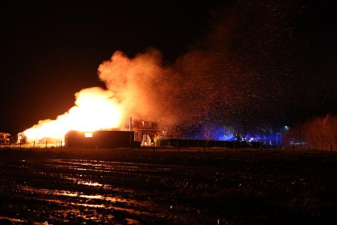 Brand in de schuur op het terrein.