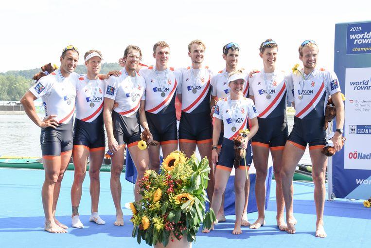 De Holland Acht bemachtigde gisteren met een tweede plaats het olympische startbewijs. Beeld EPA