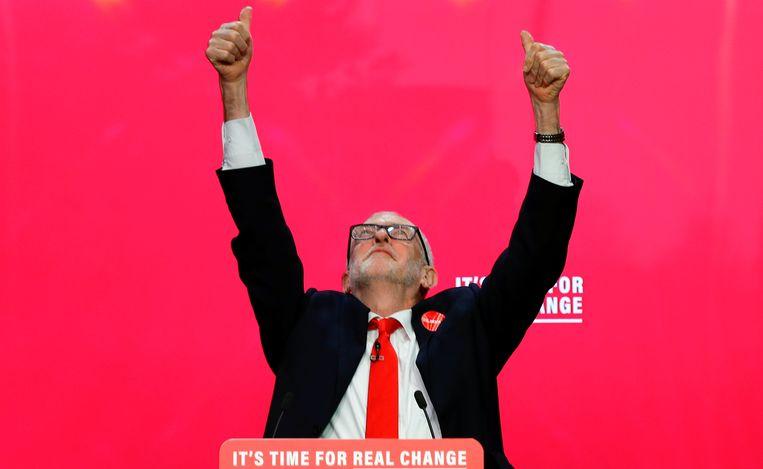 Labourleider Jeremy Corbyn bij de presentatie van het verkiezingsprogramma van zijn partij in Birmingham. Beeld REUTERS