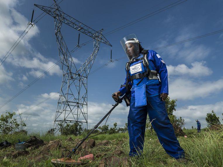 Flora Armando Chipossa Tenho (31) speurt landmijnen op bij een elektriciteitsmast langs de weg van Maputo naar Zuid-Afrika. Beeld Getty