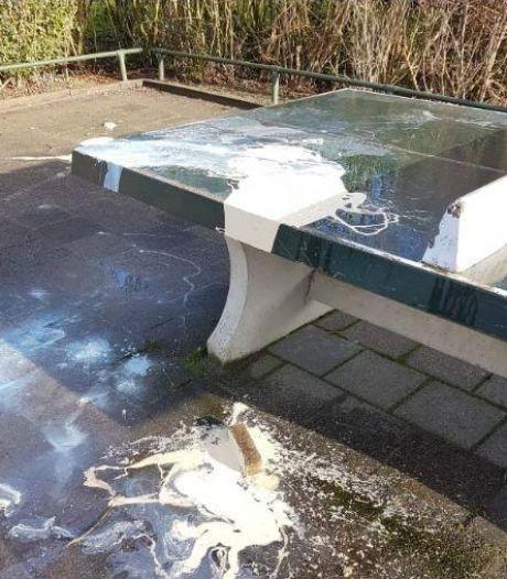 Schoolplein in Papendrecht besmeurd met verf