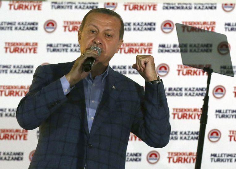 Recep Tayyip Erdogan na zijn overwinning Beeld ap