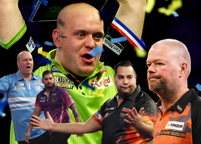 WK Darts, in december weer met elf Nederlanders, onder wie titelverdediger Michael van Gerwen en, vlnr, Vincent van der Voort, Jelle Klaasen, Jermaine Wattimena en Raymond van Barneveld.