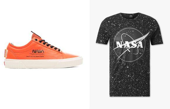 Links: Van's met het NASA-wormlogo. Rechts: heren-T-shirt bij C&A.