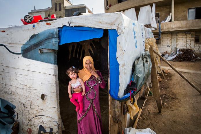 Syrische vluchtelingen in Libanon.