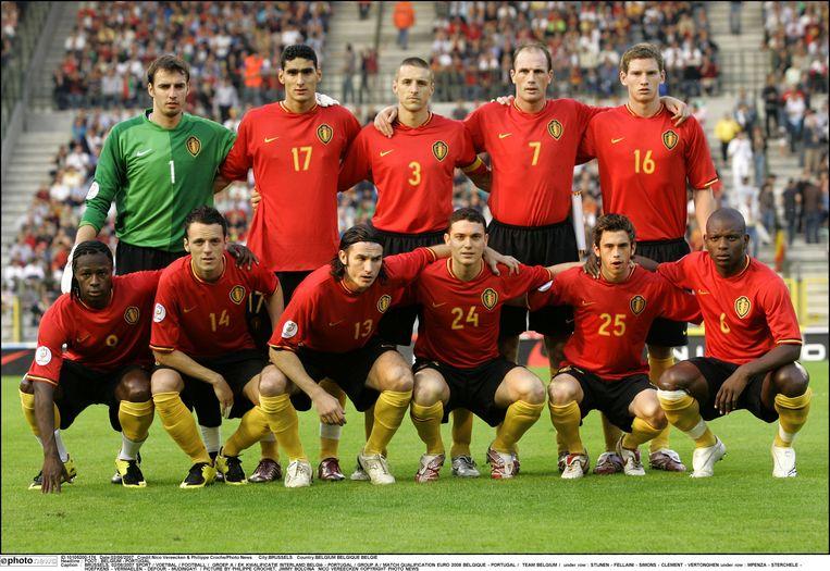 Het elftal van de Rode Duivels voor de kwalificatiewedstrijd tegen Portugal voor EURO 2008.