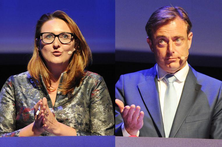 Gwendolyn Rutten (Open Vld) en Bart De Wever (N-VA) gisteren op een politiek kopstukkendebat van Agoria.