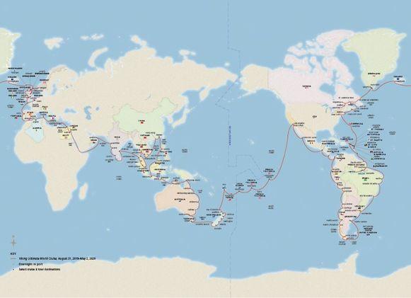 De tocht van acht maanden heeft onder meer stops in Scandinavië, het Caribisch gebied, Zuid-Amerika, de eilanden in de Stille Oceaan, Australië, Azië en de Middellandse Zee.