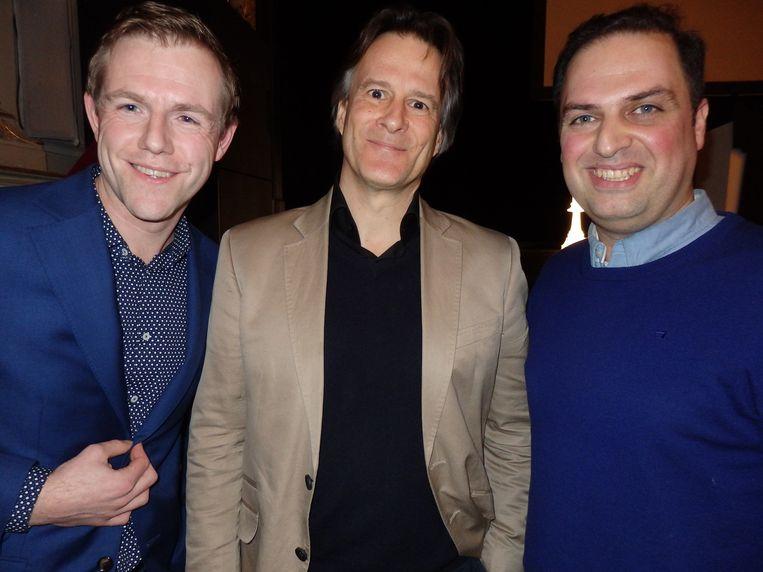 De Tegel-genomineerden (beste interview): vlnr Mark Misérus (Volkskrant, Sepp Blatter), Mischa Cohen (Vrij Nederland, Michel Faber), Roozbeh Kaboly (Nieuwsuur, Assad). Beeld -